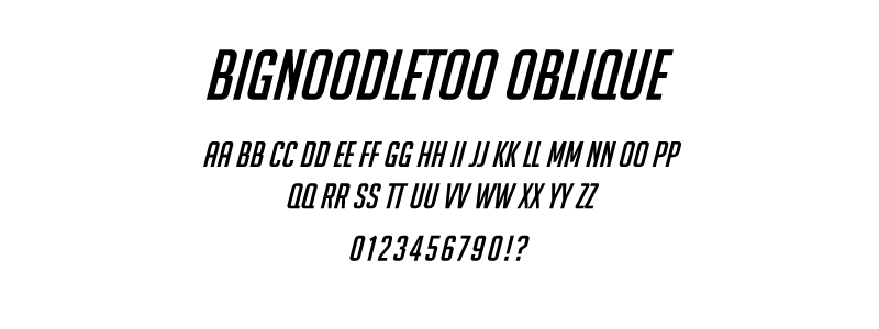 pop: BigNoodleToo Oblique (Overwatch Title) font