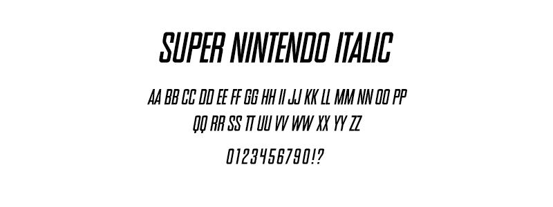 pop: Super Nintendo Italic (SNES Logo) font
