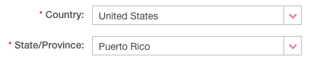 State and country designation for Puerto Rico